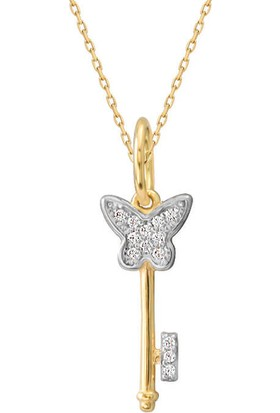 Myra Gold 14 Ayar Altın Kelebekli Anahtar Kolye (Kly1065)