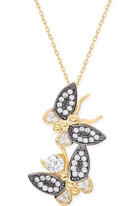 Myra Gold Altın Tasarım İkili Kelebek Kolye (Kly2980)