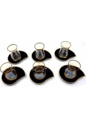Lav Eva Siyah Tabaklı 12 Parça Çay Seti