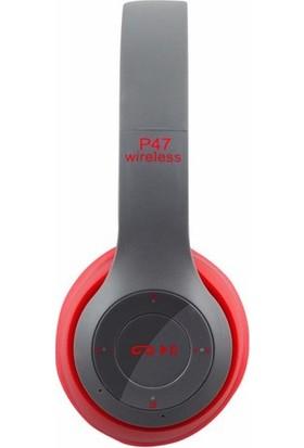 Azr P47 Katlanalabilir 2.4+Edr Kablosuz Bluetooth Kulaklık Kırmızı