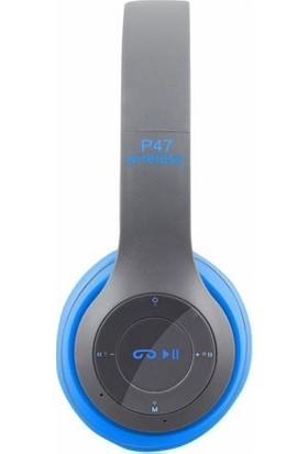 Azr P47 Katlanalabilir 2.4+Edr Kablosuz Bluetooth Kulaklık Mavi