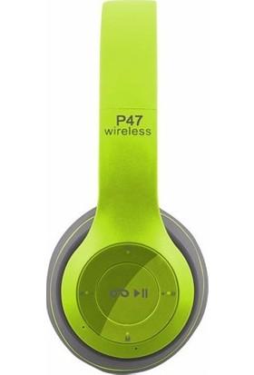 Azr P47 Katlanalabilir 2.4+Edr Kablosuz Bluetooth Kulaklık Yeşil