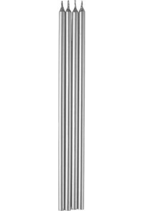 Partifabrik Uzun Gümüş Pasta Mumu 20 cm 6 lı