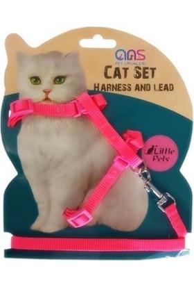 Ans Kedi Göğüs Bel Tasması Dokuma Pembe