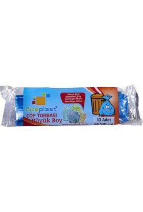Niceplast Eko Çöp Poşeti Büyük Boy Mavi 50 Rulo 65X80 cm