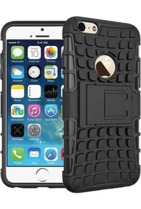 KNY Apple iPhone 8 Kılıf Ultra Korumalı Standlı Sert Dazzle Kapak + Nano Cam Ekran Koruyucu - Siyah