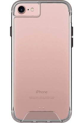 KNY Apple iPhone 6/6S Kılıf Silikon Kenarlı Sert Mika Kapak + Cam Ekran Koruyucu - Şeffaf