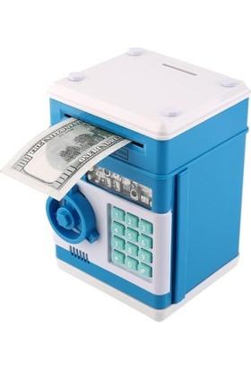 Katarsis Şifreli Otomatik Kağıt Para Alan Kasa Kumbara Mavi Kasa