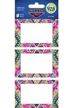 Crea Etiket Afrika Desenli Neon Etk 1208