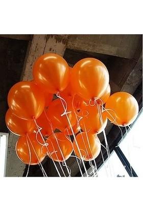 Balonpark 25 Adet Metalik Parlak Sedefli Turuncu Balon Helyumla Uçan