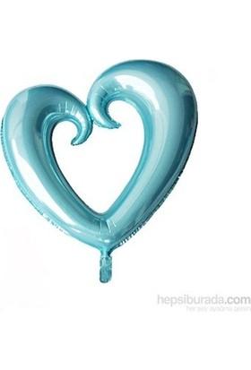 Parti Feneri Açık Mavi Renkli İçi Boş Kalp Şekilli Folyo Balon 100 cm