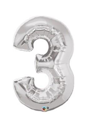 Parti Feneri 3 Rakamı Gümüş Rakam Folyo Balon 90 cm