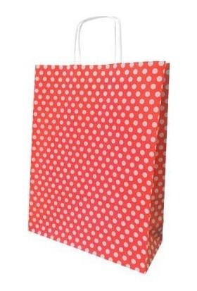 Kraft Çanta Kırmızı Puantiyeli Orta 25Li