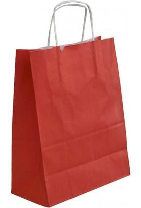 Kraft Çanta Kırmızı Büyük Boy 25 Li