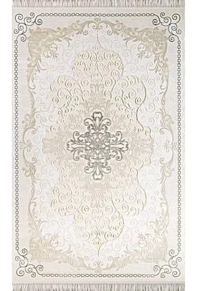Tiffany Halı Fantasia Gümüş Gri Renk Göbekli Halı T1715AS 100x200 cm