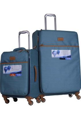 d0d5c234bae17 It Luggage Ultra Light Büyük ve Kabin Boy Kumaş Valiz Seti Çizgili Yeşil  2262 ...