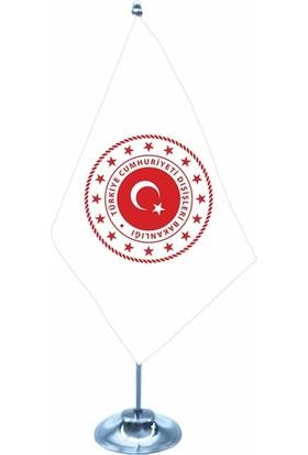 Meteor Dışişleri Bakanlığı Yeni Logo Tekli Krom Direk Masa Bayrağı 15X22,5Cm