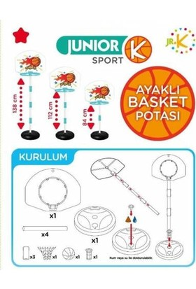 Junior K Ayaklı Ayarlanabilir 3 Farklı Boy Basket Potası Ve Top