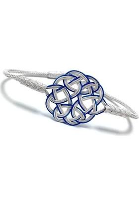 Midyat Gümüş Dünyası 1000 Ayar El Örmesi Mavi-Beyaz Gümüş Kazaziye Unisex Bileklik 2