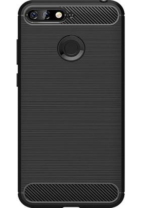 Microcase Huawei Y6 2018 Brushed Carbon Fiber Silikon Kılıf