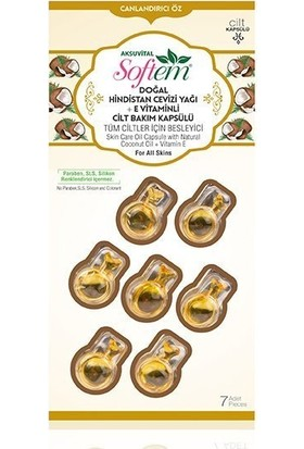 Aksu Vital Softem Doğal Hindistan Cevizi Yağlı +E Vitaminli Cilt Bakım Kapsülü 7 Adet