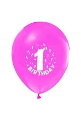 """Balon 1+1"""" Happy Bırt.1Yaş Baskılı Pembe 16 Adet"""