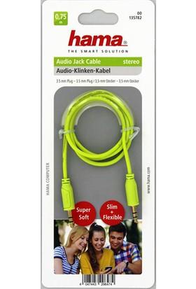 Hama 135782 3.5mm – 3.5mm Flexi Slim Altın Uç 0.75m Ses Kablosu - Yeşil