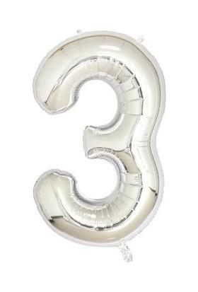 Sevinç 40 İnç 3 Rakam Gümüş Folyo Özel Günler Ve Doğum Günleri İçin