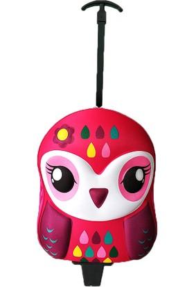 Redpoloshop Anaokulu Çekçekli Çocuk Sırt Çantası Abs Kabuk Mini Boy 3-6 Yaş Baykuş Pembe