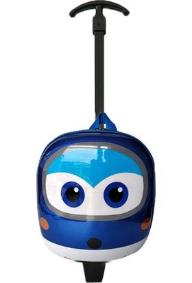 Redpoloshop Anaokulu Çekçekli Çocuk Sırt Çantası Abs Kabuk Mini Boy 3-6 Yaş Kanatlar Mavi