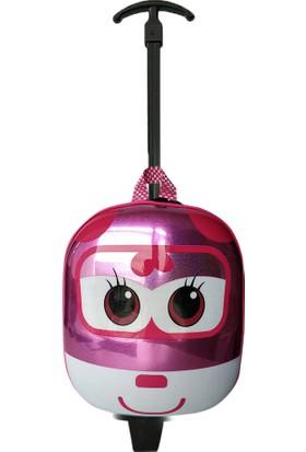 Redpoloshop Anaokulu Çekçekli Çocuk Sırt Çantası Abs Kabuk Mini Boy 3-6 Yaş Kanatlar Pembe