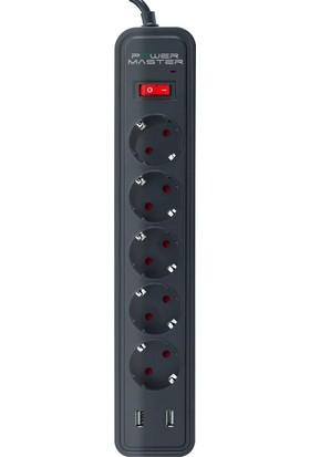 Powerway Powermaster Pm-17565 2 Usb Çıkışlı 5'Li 2 Metre Kablolu Akım Korumalı Priz