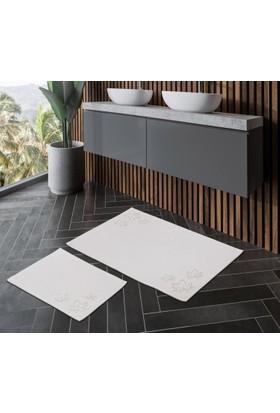 Zeria Home Pamuklu Banyo Paspas Takımı 2Li Set Yaprak Desenli Krem