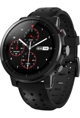 Xiaomi Amazfit Pace 2S Stratos+ Bluetooth Nabız GPS Akıllı Saat - Deri Kordon - Safir Ekran - Global Versiyon