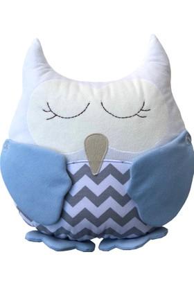 Pudra Decor Mavi Baykuş Şekilli Bebek Yastığı