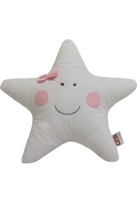 Pudra Decor Beyaz Yıldız Yastık