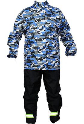 Vexo Sports Kamuflaj Yağmurluk Mavi L