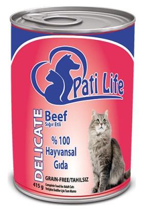 Pati Life 12'Li Sığır Etli Konserve Yaş Kedi Maması 415 Gr