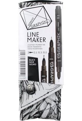 Derwent Graphik Line Maker 3'Lü Set Black