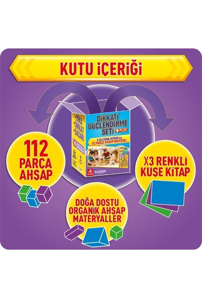 Dikkati Güçlendirme Seti Plus 7 Yaş Kutu (3 Kitap + 112 Ahşap parça) - Osman Abalı