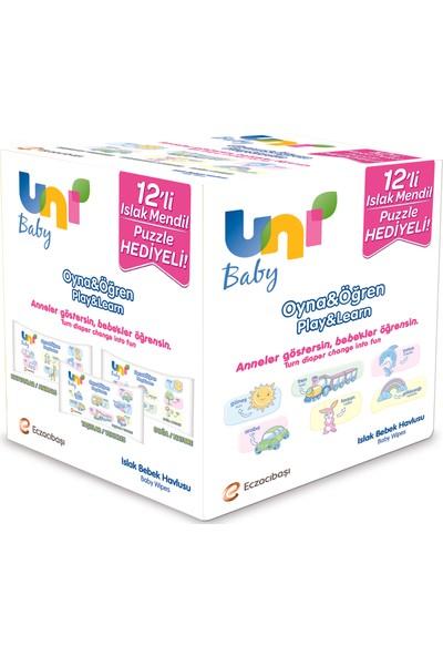 Uni Baby Oyna Öğren Islak Mendil 12'li - 624 yaprak - Puzzle Hediyeli !