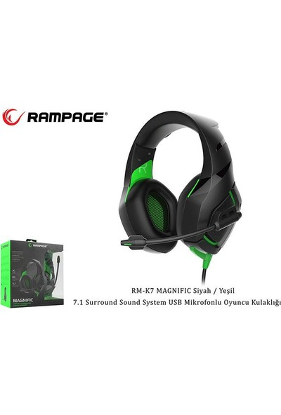 Rampage RM-K7 Magnific Siyah Yeşil USB Oyuncu Kulaklık