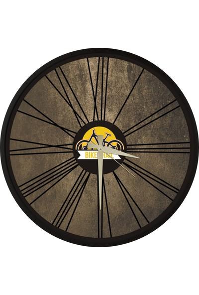 Bike Trail Tasarım Ahşap Yuvarlak Duvar Saati 45cm