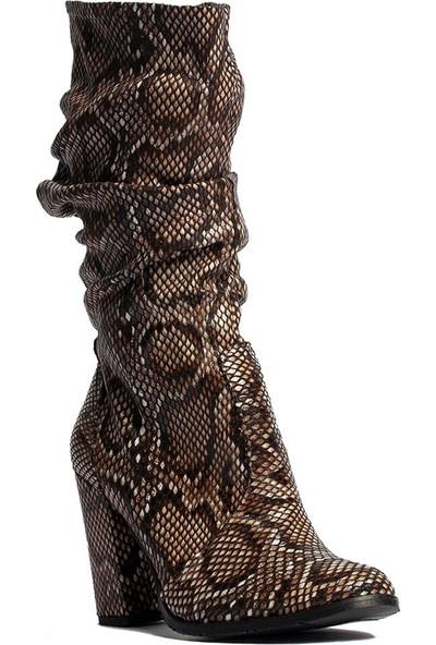Caprito Snaky Yılan Desenli Büzgülü Kadın Çizme - Ay42