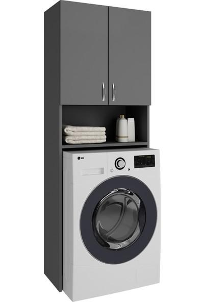 Kenzlife çamaşır makinesi dolabı sinem gri banyo kiler