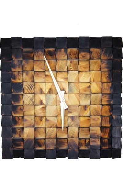 Doğal Masif Ahşap Eskitme Duvar Saati Dekoratif Saat