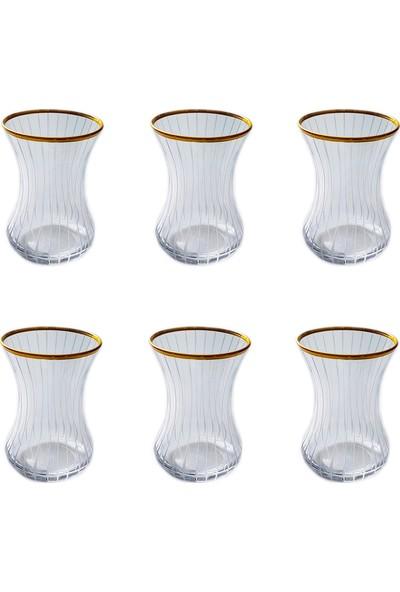 Başak İnce Belli Çizgi(Yaldız) 6 Kişilik Çay Bardağı
