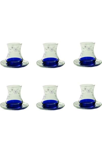 Başak Eda Papatya (Mavi )Taşlı Çay Seti