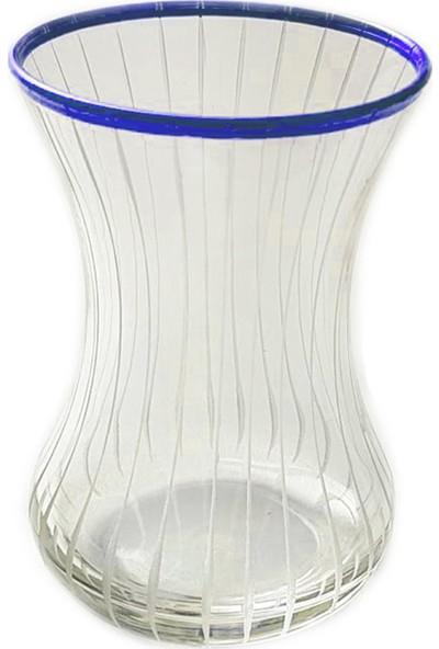 Başak İnce Belli Çizgi(Mavi) 6 Kişilik Çay Bardağı