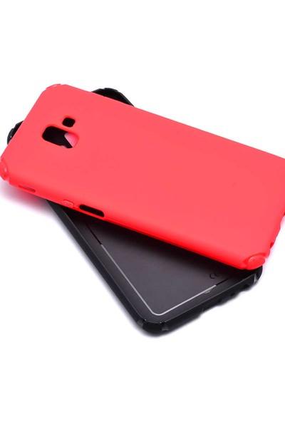 Evastore Galaxy J4 Plus Kılıf Zore Stop Silikon - Kırmızı
